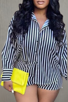 Black And White Sexy Striped Split Joint Turndown Collar Long Sleeve Two Pieces