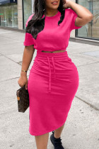 Rose Red Casual Solid Split Joint Slit O Neck Short Sleeve Two Pieces