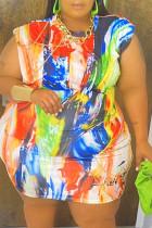 Colour Fashion Casua lPlus Size Print Basic O Neck Pencil Dresses