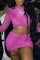 Pink Fashion Sexy Solid See-through O Neck Long Sleeve Two Pieces