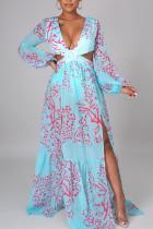 Light Blue Elegant Print Hollowed Out Split Joint V Neck Straight Dresses