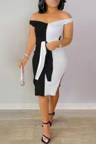 Black Fashion Sexy Patchwork Backless Slit V Neck Sleeveless Dress