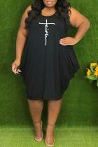 Black Casual Print Split Joint V Neck Vest Dress Plus Size Dresses