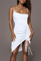 White Sexy Solid Split Joint Draw String Fold Spaghetti Strap Sling Dress Dresses