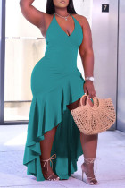 Light Green Fashion Sexy Plus Size Solid Backless Spaghetti Strap Irregular Dress