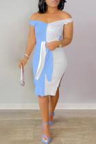 Light Blue Fashion Sexy Patchwork Backless Slit V Neck Sleeveless Dress