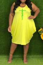 Yellow Casual Print Split Joint V Neck Vest Dress Plus Size Dresses