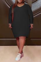 Black Fashion Casual Plus Size Solid Basic V Neck Long Sleeve Dresses