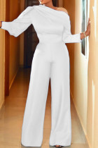 White Fashion Casual Solid Basic Oblique Collar Regular Jumpsuits