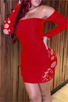 Red Fashion Sexy Solid Hollowed Out Backless Off the Shoulder Long Sleeve Dresses