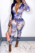 Purple Fashion Casual Print Tie-dye Zipper Collar Skinny Jumpsuits
