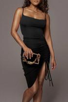 Black Sexy Solid Split Joint Draw String Fold Spaghetti Strap Sling Dress Dresses