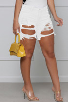 White Fashion Casual Solid Ripped High Waist Regular Jeans
