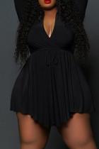 Black Casual Solid Split Joint Frenulum Asymmetrical Turndown Collar A Line Plus Size Dresses