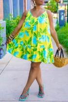 Yellow Casual Print Split Joint Spaghetti Strap Floral Babydoll Cake Dresses