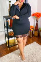 Black Fashion Casual Plus Size Solid Split Joint Turndown Collar Long Sleeve Dresses
