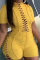 Yellow Sexy Solid Hollowed Out Half A Turtleneck Plus Size Jumpsuits