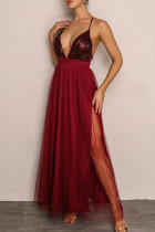 Burgundy Sexy Patchwork Sequins Backless Spaghetti Strap Long Dress