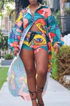 Colour Fashion Casual Print Cardigan Turndown Collar Long Sleeve Two Pieces