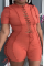 Tangerine Red Sexy Solid Hollowed Out Half A Turtleneck Plus Size Jumpsuits