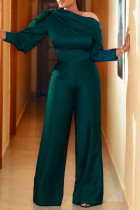 Green Fashion Casual Solid Basic Oblique Collar Regular Jumpsuits