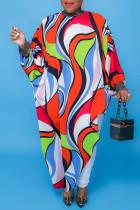 Red Fashion Casual Print Asymmetrical Turtleneck Long Sleeve Plus Size Dresses