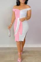 Pink Fashion Sexy Patchwork Backless Slit V Neck Sleeveless Dress