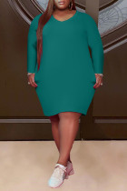 Green Fashion Casual Plus Size Solid Basic V Neck Long Sleeve Dresses