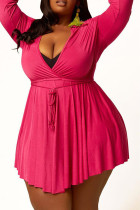 Rose Red Casual Solid Split Joint Frenulum Asymmetrical Turndown Collar A Line Plus Size Dresses
