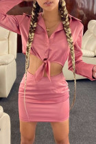 Pink Sexy Casual Solid Bandage Turndown Collar Two Pieces