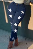 Deep Blue Fashion Casual The stars Printing High Waist Regular Jeans