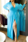 Yellow Sexy Solid Split Joint V Neck Straight Plus Size Dresses