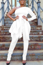 White Sexy One Shoulder Strap Long Sleeve Jumpsuit
