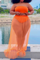 Tangerine Red Sexy Solid See-through Mesh Swimwears Cover Up