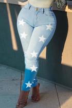 Light Blue Fashion Casual The stars Printing High Waist Regular Jeans