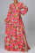 Red Casual Print Patch V Neck Cake Skirt Dresses