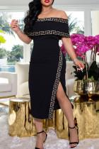 Black Sexy Print Split Joint Slit Off the Shoulder Straight Dresses