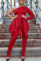 Red Sexy One Shoulder Strap Long Sleeve Jumpsuit