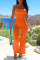 Orange Sexy Casual Solid Bandage Backless Strapless Regular Jumpsuits