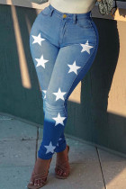 Medium Blue Fashion Casual The stars Printing High Waist Regular Jeans