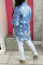 Deep Blue Fashion Casual Solid Ripped Turndown Collar Long Sleeve Regular Denim Jacket