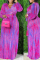 Fuchsia Sexy Print Split Joint V Neck Long Sleeve Two Pieces