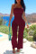 Burgundy Sexy Casual Solid Bandage Backless Strapless Regular Jumpsuits
