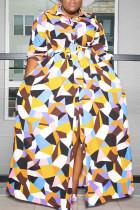 Multicolor  Simplicity Print Split Joint Buckle Turndown Collar Shirt Dress Plus Size Dresses