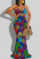 Blue Sexy Solid Hollowed Out Spaghetti Strap Trumpet Mermaid Dresses