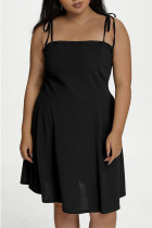 Black Sexy Solid Split Joint Spaghetti Strap Sling Dress Plus Size Dresses