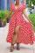 Red Sexy Dot Split Joint V Neck Irregular Dress Dresses