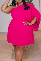 Pink Sexy Solid Split Joint Asymmetrical Oblique Collar Straight Plus Size Dresses
