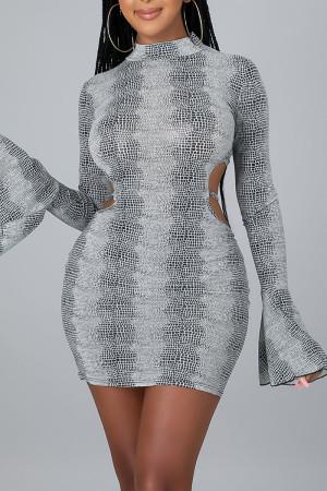 Silver Sexy Print Split Joint Frenulum Backless O Neck Pencil Skirt Dresses