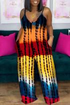 Yellow Fashion Casual Tie Dye Printing Spaghetti Strap Plus Size Jumpsuits